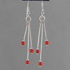 Red Coral Long Triple Dangle Earrings