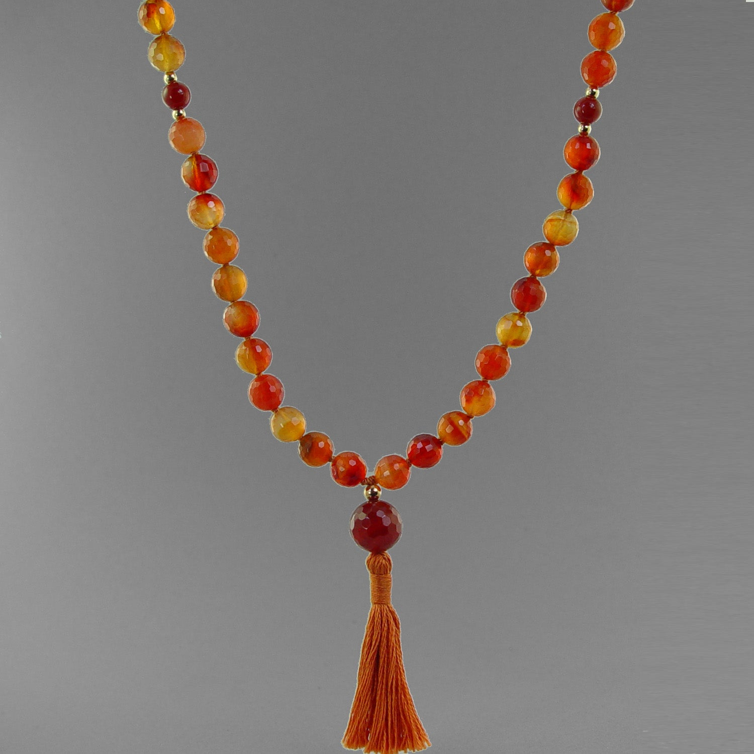 Mars Mala - Faceted Carnelian with Gold Filled Accents