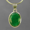 Emerald 20 ct Faceted Oval Cab Bezel Set Sterling Silver Pendant