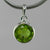 Peridot 3 ct Faceted Round Bezel Set Sterling Silver Pendant