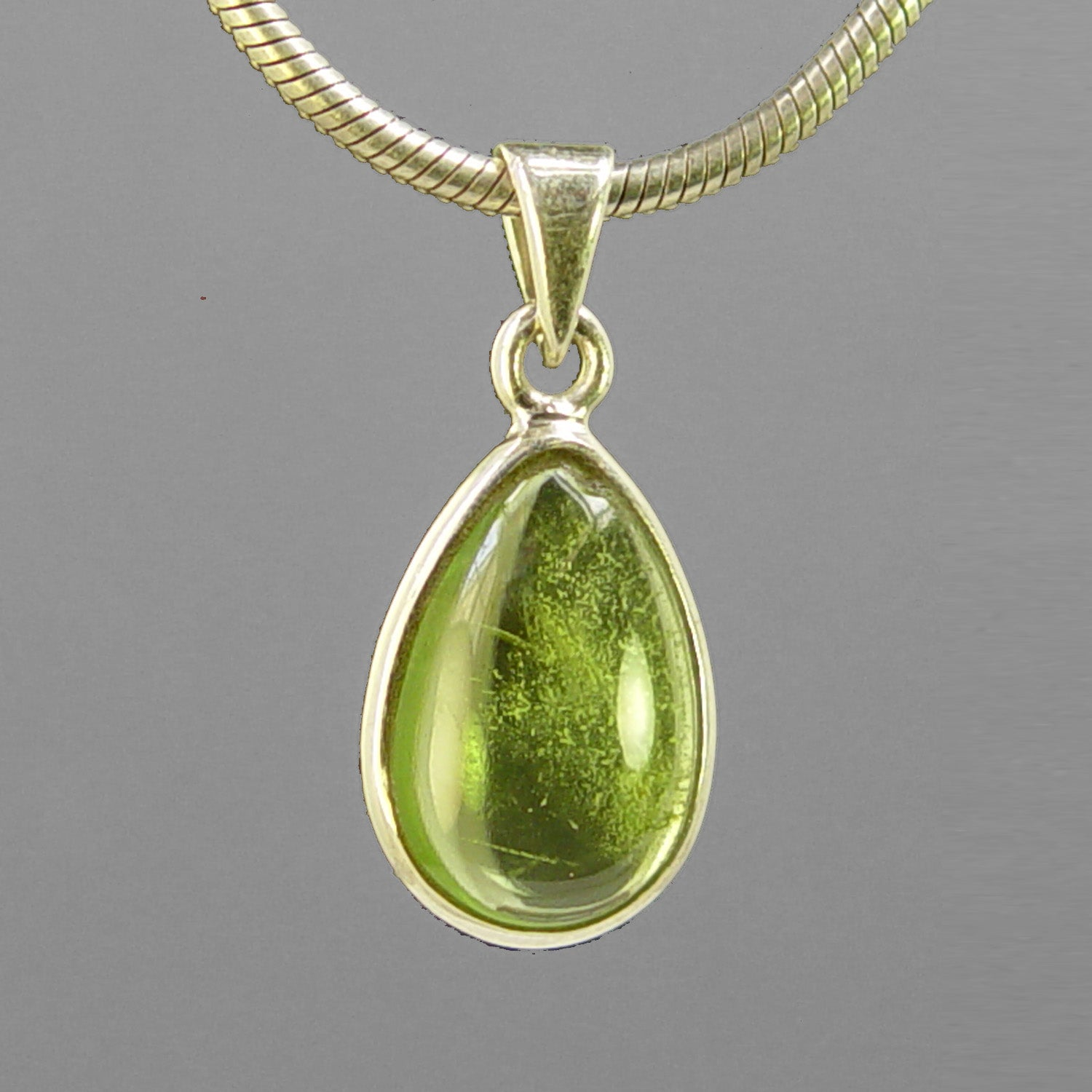 Peridot 3.2 ct Pear Cab Bezel Set Sterling Silver Pendant