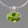 Peridot 3.5 ct Faceted Oval Bezel Set Sterling Silver Pendant