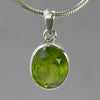 Peridot 5 ct Faceted Oval Bezel Set Sterling Silver Pendant