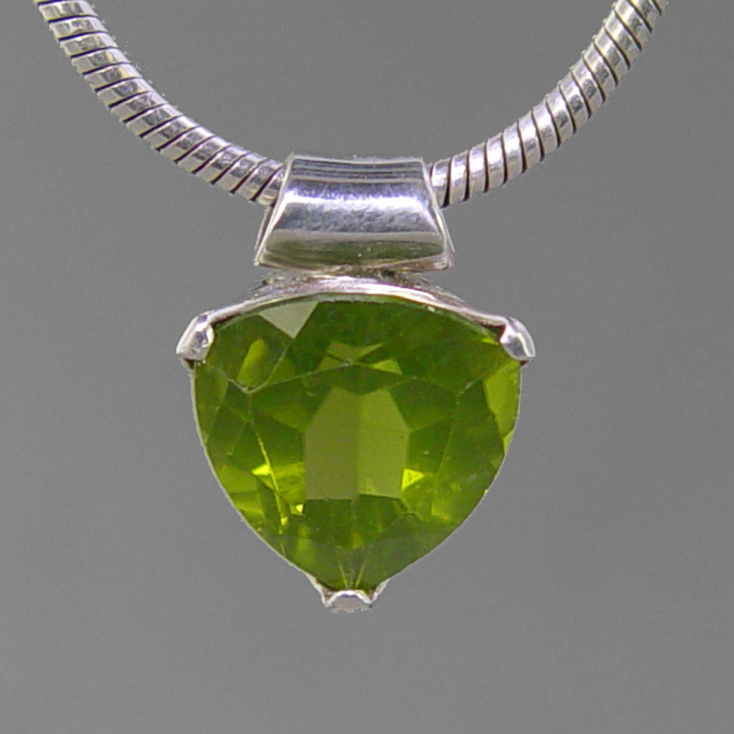 Peridot 6.76 ct Faceted Trillion Cut Sterling Silver Pendant