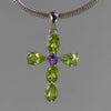 Peridot Pendant - Faceted Pear and Oval Peridot Cross in Sterling Silver