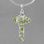 Peridot Cross 4 CTW 6 Faceted Ovals Bezel Set Sterling Silver Pendant