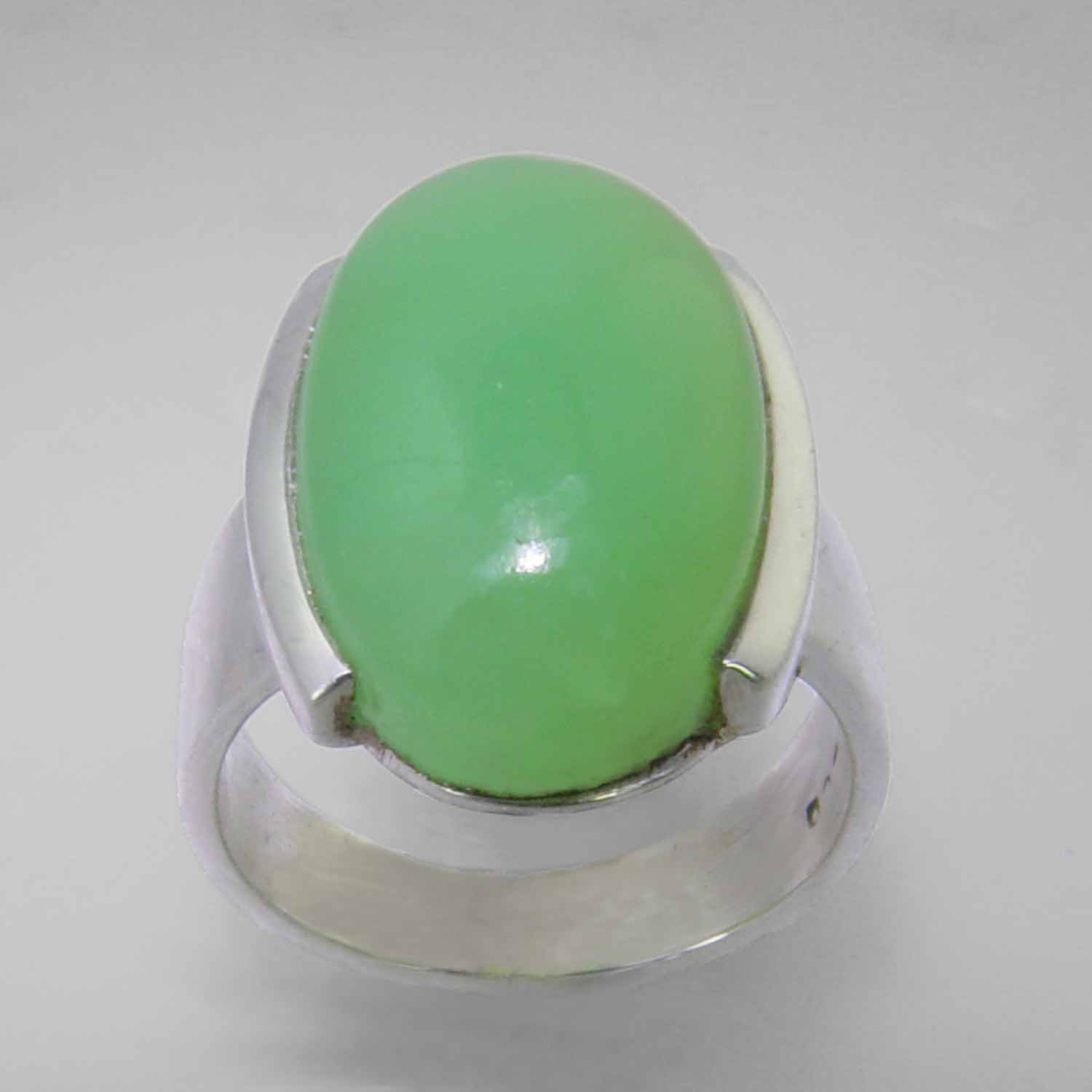 Chrysoprase 11.75 ct Oval Cab Semi Bezel Set Sterling Silver Ring, Size 6.5