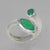 Emerald 2.0 CT Marquise Bezel Set Sterling Silver Offset Ring, Size 8, Adjustable Overlapping Band