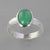 Emerald 2.34 ct Oval Cab Bezel Set Sterling Silver Ring, Size 8.5
