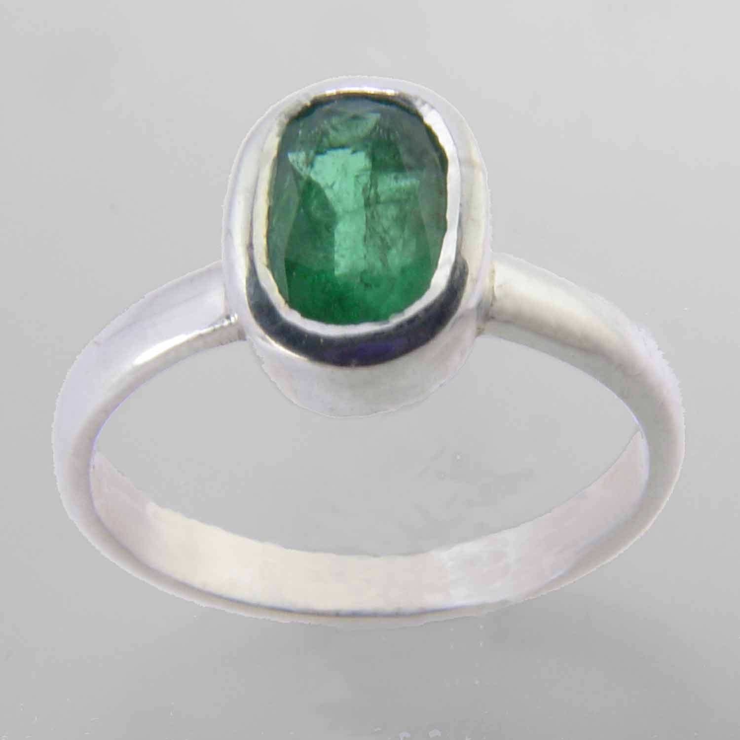 Emerald 2.5 ct Oval Bezel Set Sterling Silver Ring, Size 8