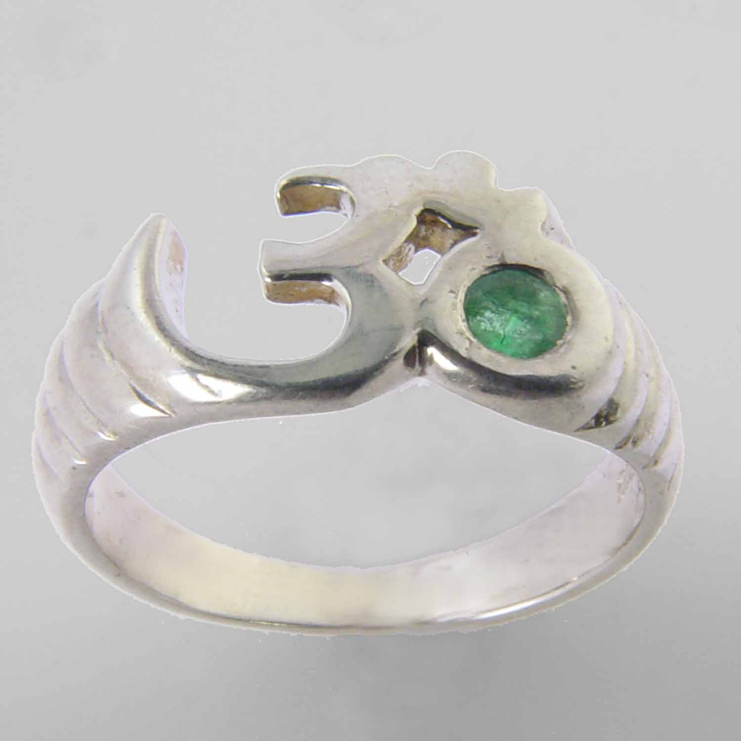 Aum Ring with Small Faceted Emerald in Sterling Silver, Size 6.5