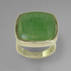 Jade 21.5 ct Antique Square Cut Cab Bezel Set Sterling Silver Ring, Size 8