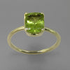 Peridot 2.0 ct Emerald Cut Sterling Silver Ring, Size 8.75