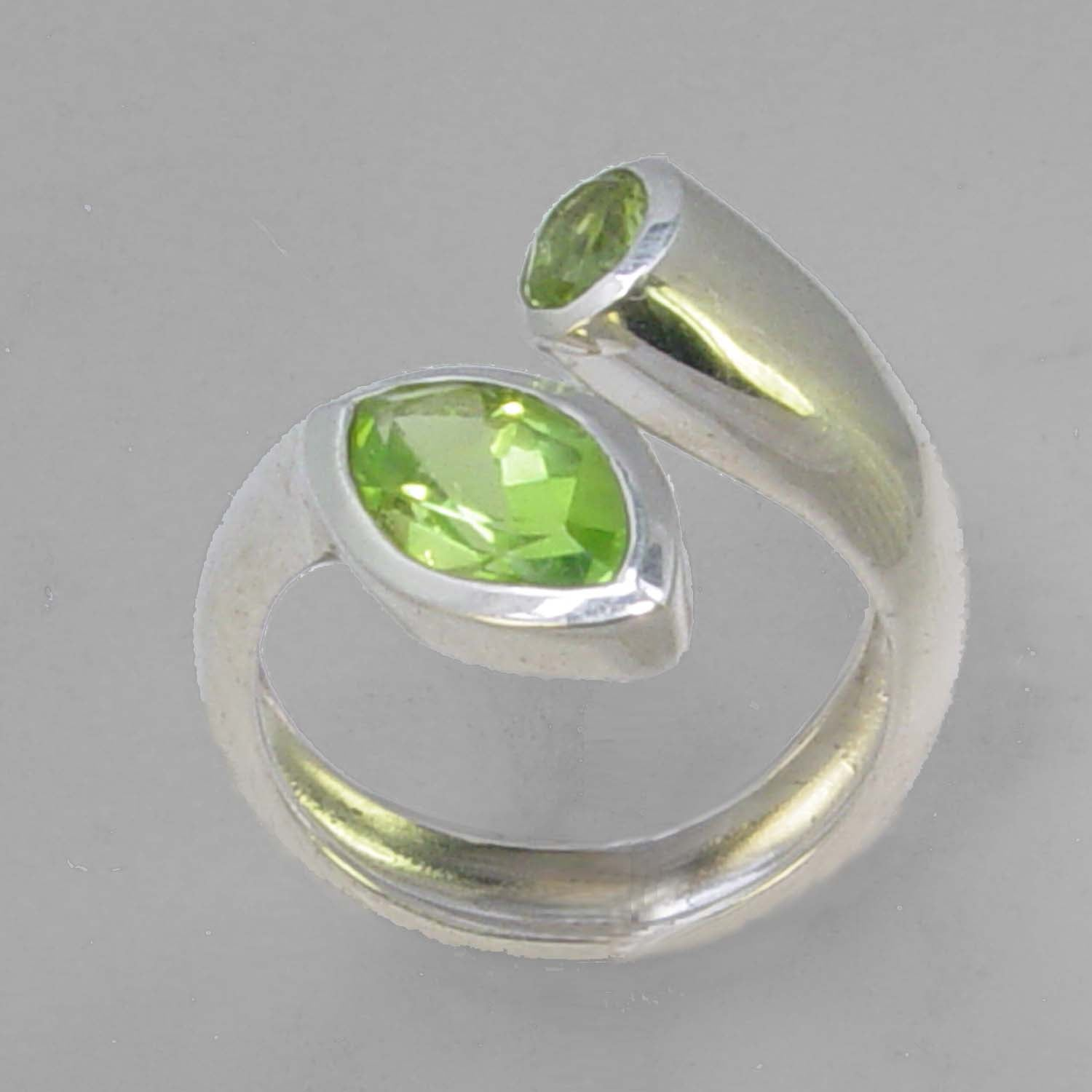 Peridot 2.0 ct Marquise Bezel Set Sterling Silver Offset Ring, Size 8, ADJ