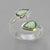 Peridot 3 ctw Pear(2) Bezel Set Sterling Silver Offset Ring, Size 8, ADJ