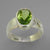 Peridot 3.75 ct Oval Bezel Set Sterling Silver Fancy Band Ring, Size 6