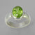 Peridot 4.1 ct Oval Bezel Set Sterling Silver Ring, Size 8.75