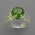 Peridot 4.25 ct Faceted Round Bezel Set Sterling Silver Fancy Band Ring, Size 7.25