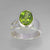 Peridot 4.5 ct Oval Fancy Bezel Set Sterling Silver Ring, Size 8
