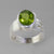 Peridot 4.5 ct Oval Bezel Set Sterling Silver Fancy Band Ring, Size 7