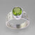 Peridot 5 ct Oval Fancy Bezel Set Sterling Silver Ring, Size 8