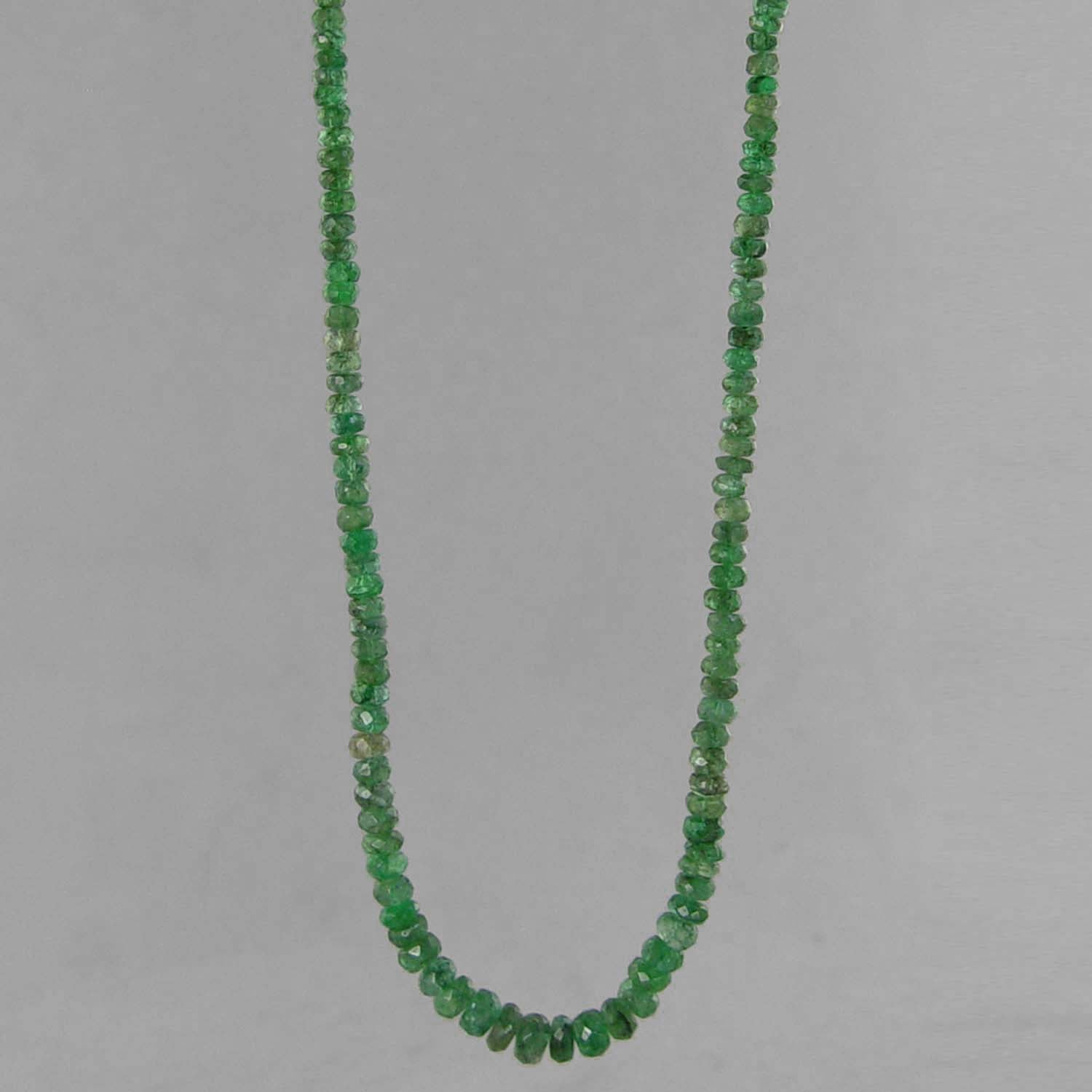 "Emerald Small Faceted Rondelle Graduated 19"" Necklace - 49 ct"