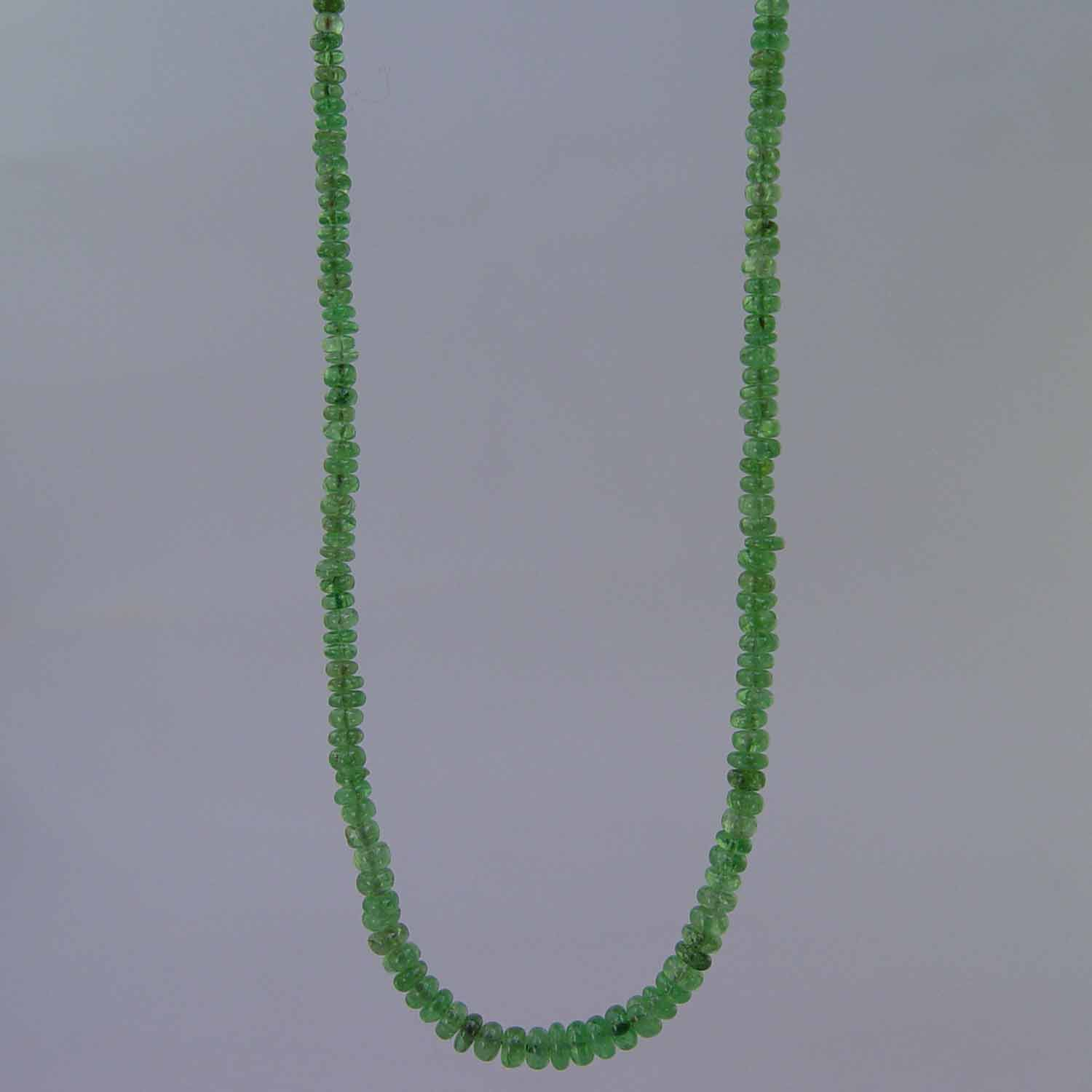 "Emerald Small Graduated Rondelle 16"" Necklace- 40 ct"