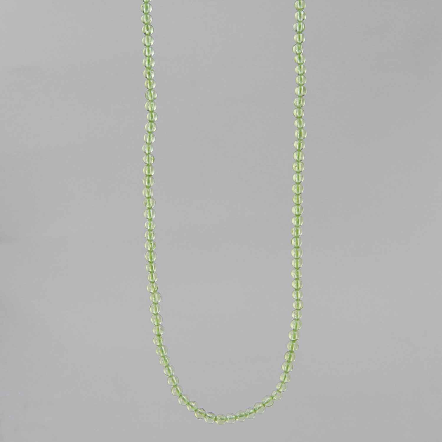 "Peridot Small Round Bead 16"" Necklace- 25 ct"