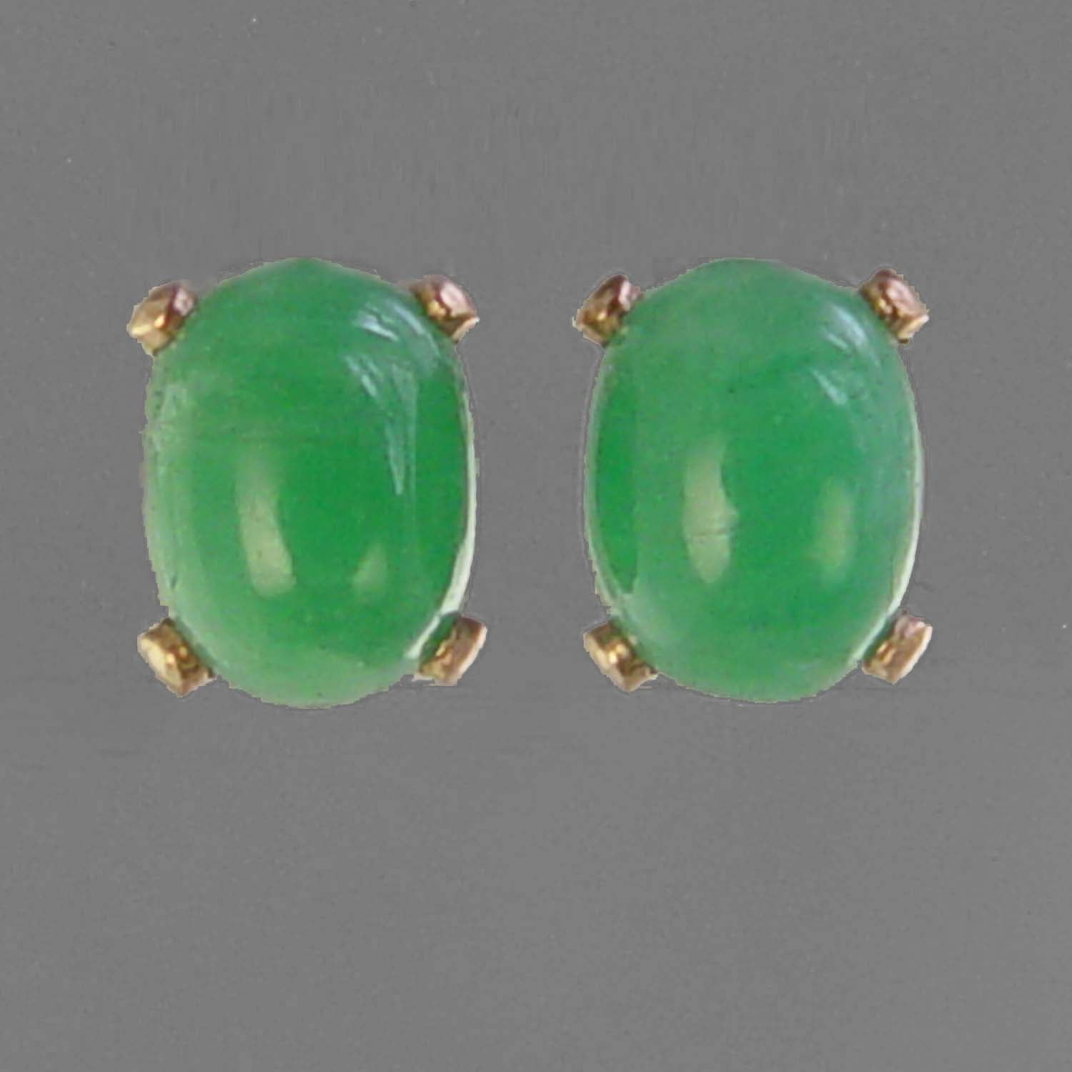 Emerald Small Classic Oval Cab Post 14KY Gold Earrings