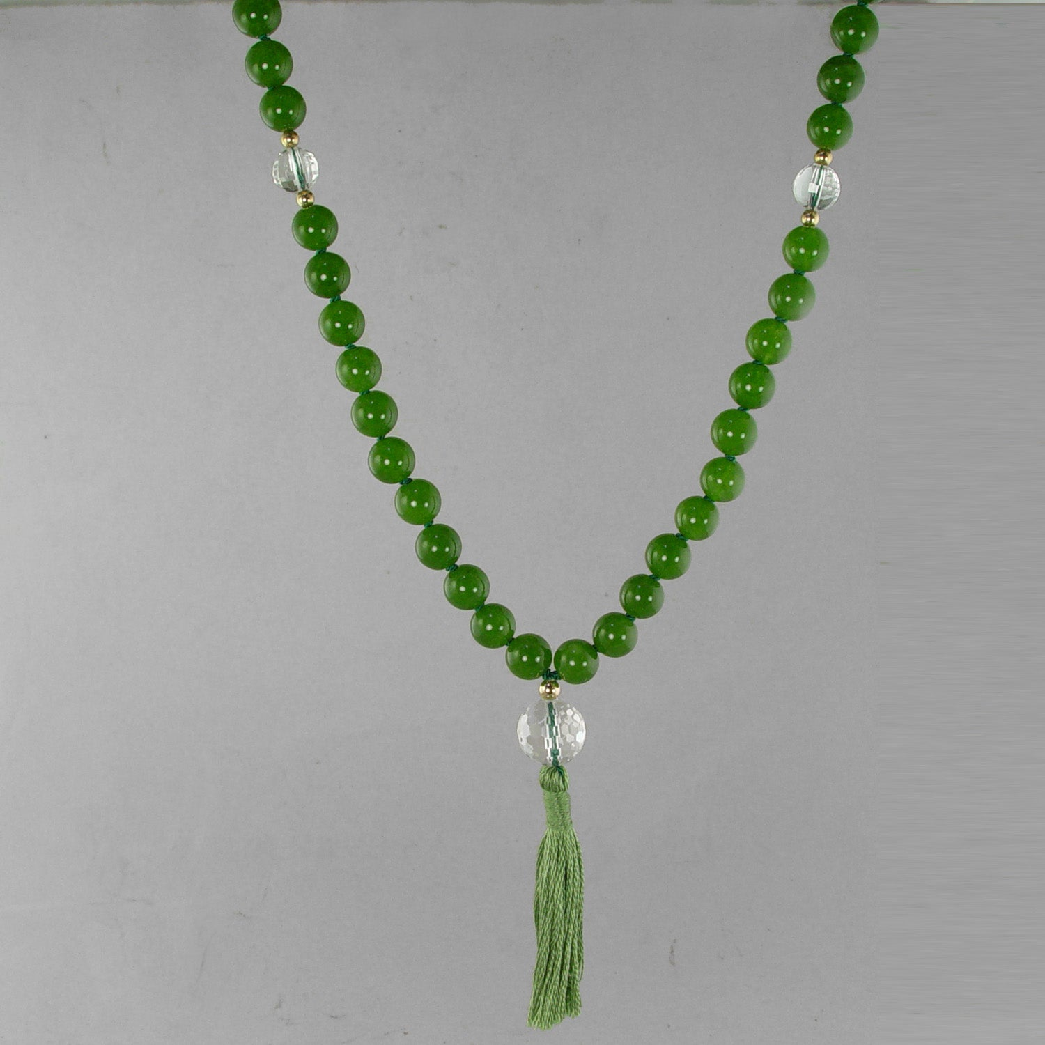 Mercury Mala - Jade with Quartz Crystal Counter Beads