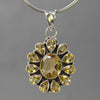 Citrine 4 ct Oval Bezel Set Sun Sterling Silver Pendant
