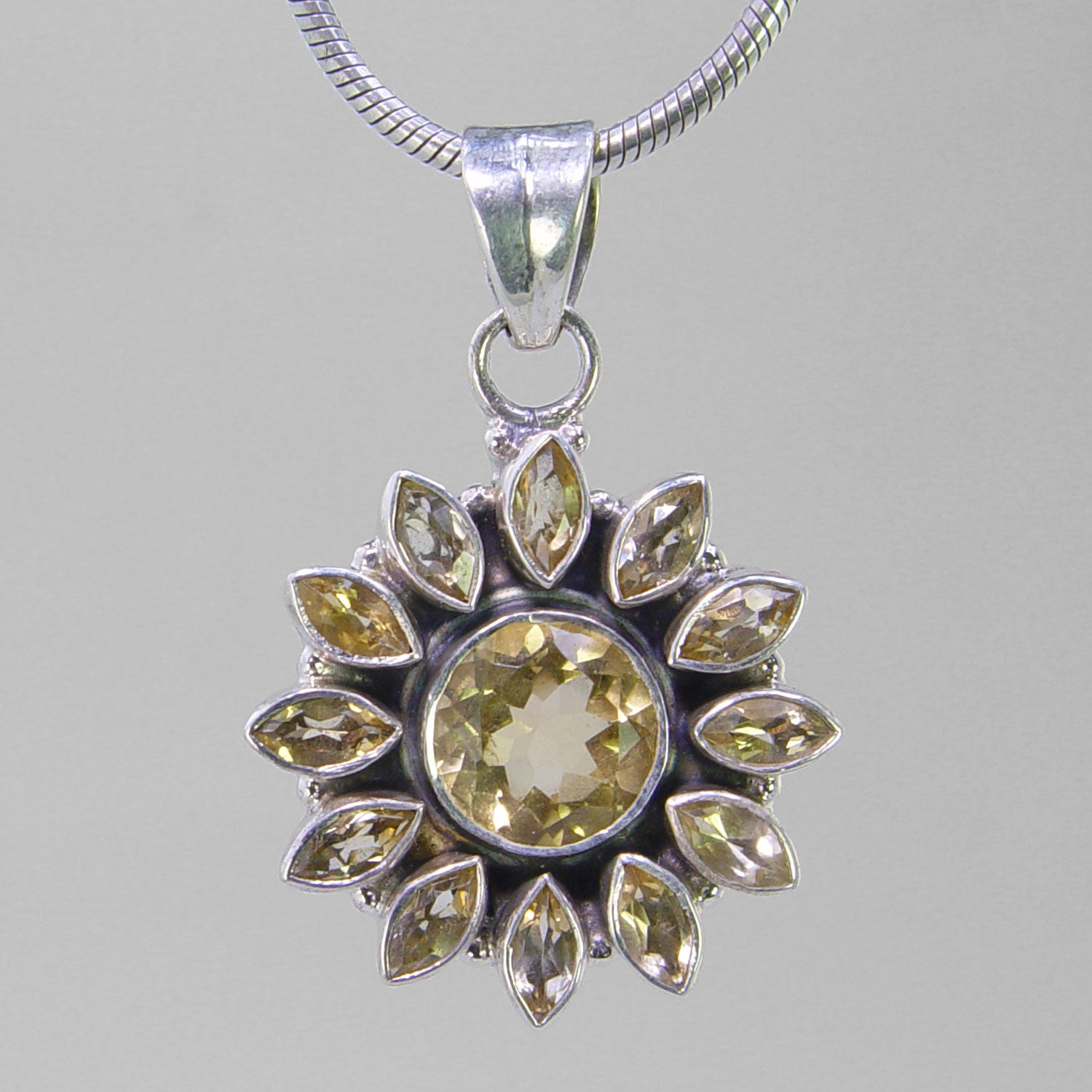 Citrine 6 ct Round Faceted Bezel Set With 12 Small Citrine's Sterling Silver Pendant