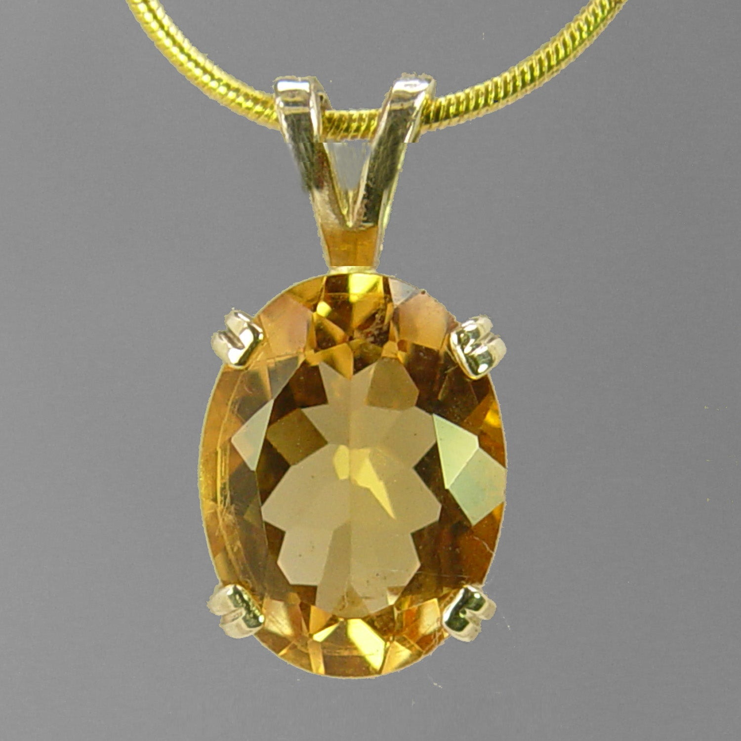 Citrine 7.54 ct Faceted Oval Prong Set 14KY Gold Pendant