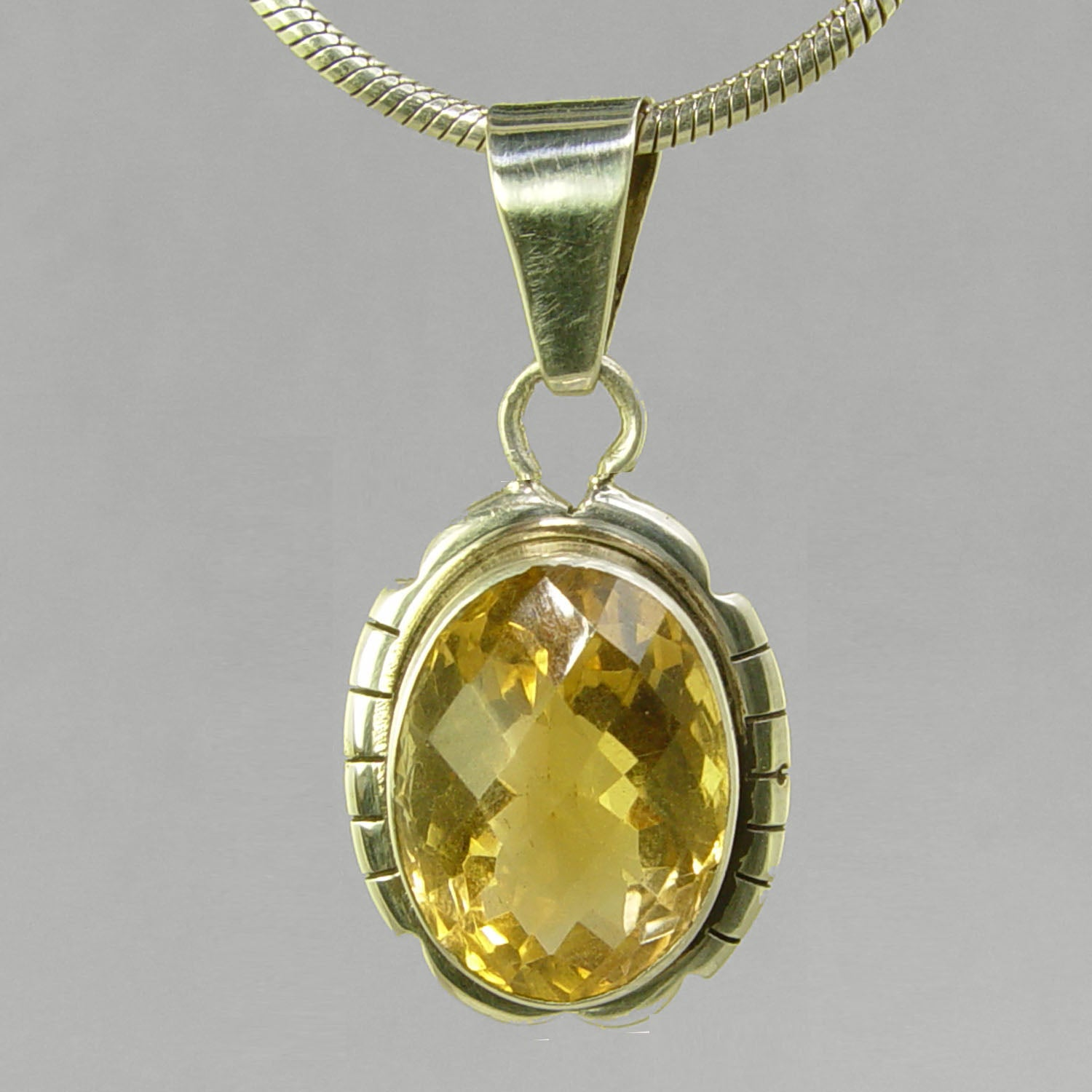 Citrine 10 ct Oval Fancy Bezel Set Sterling Silver Pendant