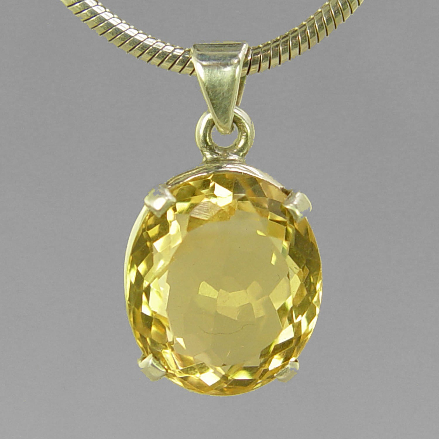 Citrine 12.1 ct Oval Prong Set Sterling Silver Pendant