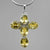 Citrine Cross 35 x 25 mm - Sterling Silver - 8.5 CTW