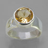 Citrine 2.6 ct Round Bezel Set Sterling Silver Fancy Shank Ring, Size 8.25