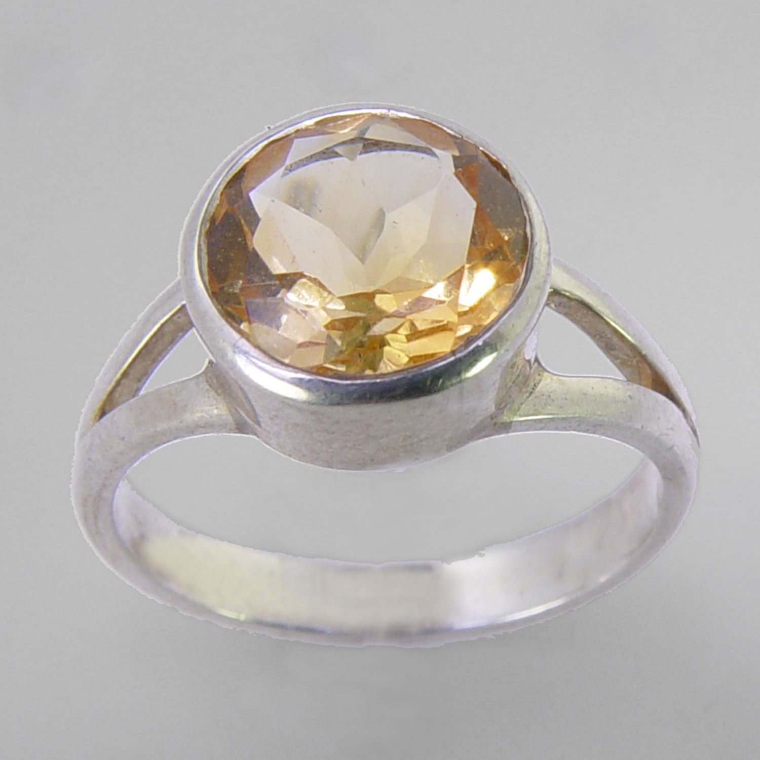 Citrine 2.6 ct Round Bezel Set Sterling Silver Split Shank Ring, Size 8.5