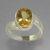 Citrine 3.0 ct Oval Bezel Off Set Sterling Silver Ring, Size 7.75