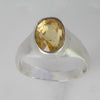 Citrine 3.5 ct Faceted Oval Bezel Set Sterling Silver Ring, Size 10,11