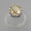 Citrine 3.5 ct Oval  Sterling Silver Fancy Head Ring, Size 8.5
