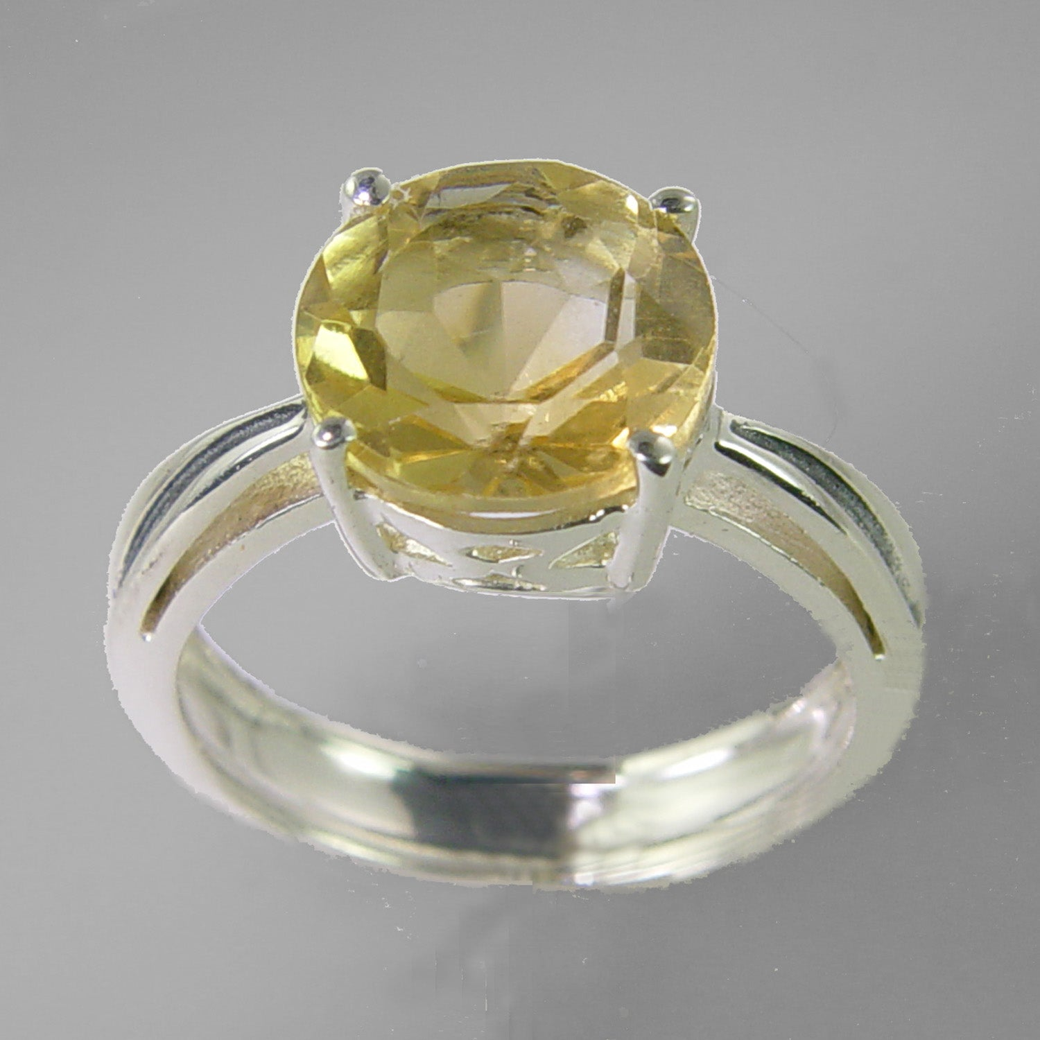 Citrine 3.3 ct Round Gallery  Prong Set Sterling Silver Ring, Size 8