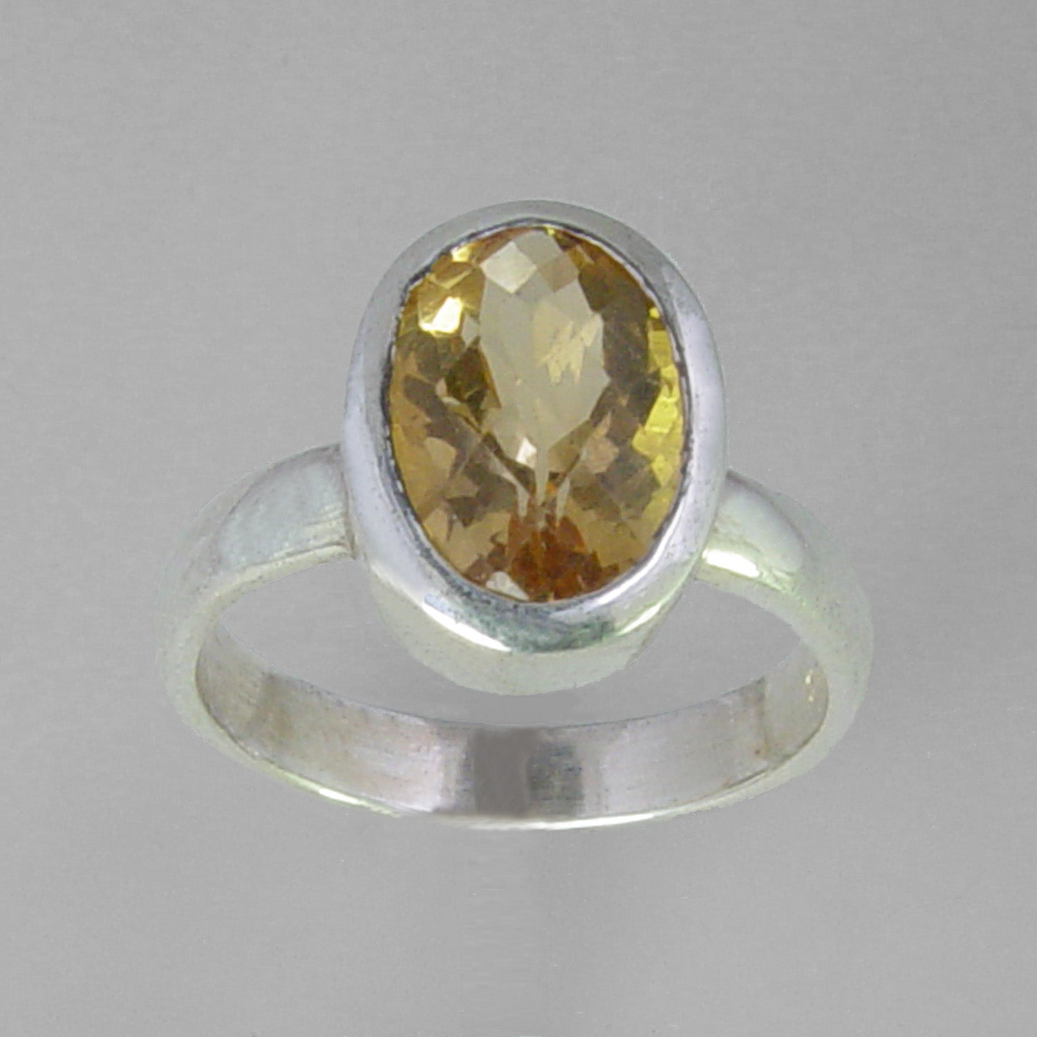 Citrine 4.5 ct Checkerboard Cut Oval Bezel Set Sterling Silver Ring, Size 7.5