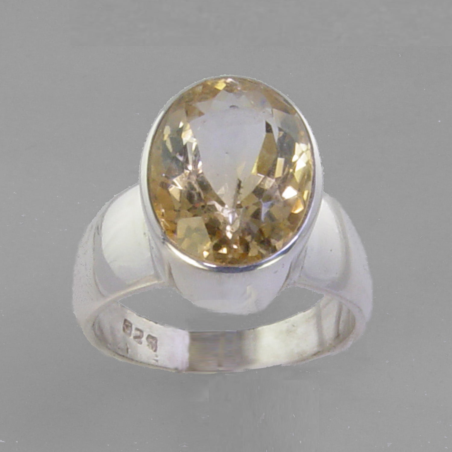 Citrine 4.75 ct Oval Bezel Set Sterling Silver Ring, Size 6.5