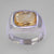 Citrine 5 ct Antique Emerald Bezel Set Sterling Silver Ring, Size 10