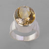 Citrine 15 ct Oval Bezel Set Sterling Silver Ring, Size 8.5