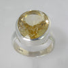 Citrine 19 ct Oval Bezel Set Sterling Silver Ring, Size 7