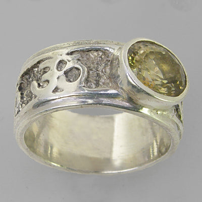 Yellow Zircon 4 ct Faceted Oval Bezel Set Sterling Silver Aum Band Ring, Size 10.5