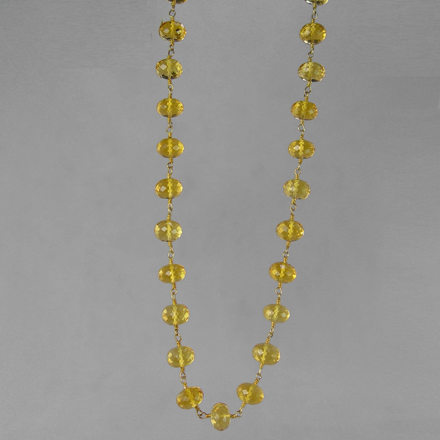 "Citrine Faceted Rondelle Gold Filled Wire 18"" Necklace"