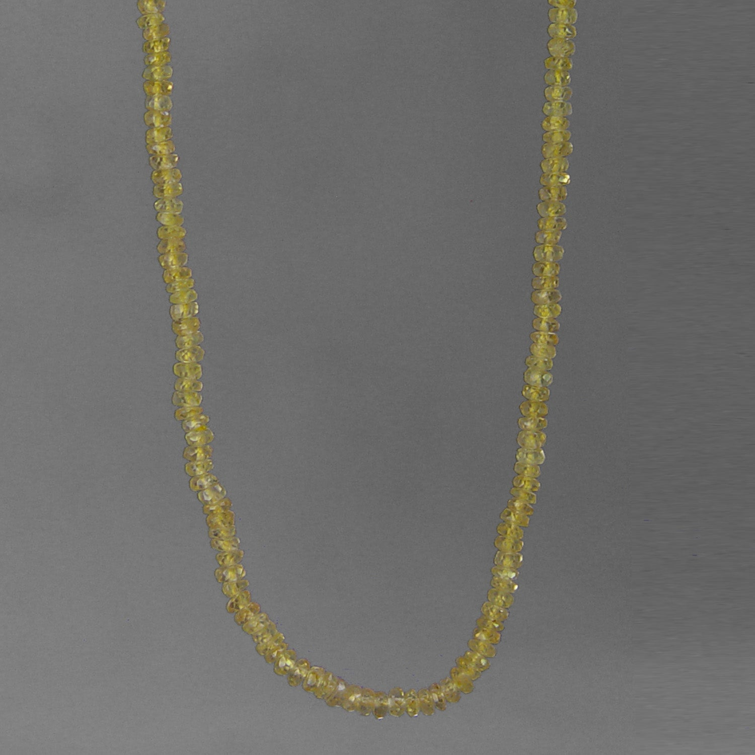 "Yellow Sapphire Small Faceted Rondelle 16-18"" Necklace"
